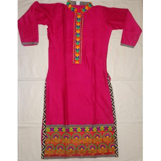 Rajasthani Pink color long Kurti with front and back embroidery