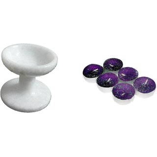 RM Marble White 2.5 inch Diya With Stand 6 Piece Set For Diwali Decoration