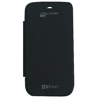 Platina Flip Cover For Micromax Bolt A47 Black available at ShopClues for Rs.199
