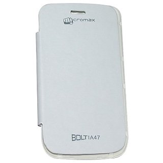 Platina Flip Cover For Micromax Bolt A47 White available at ShopClues for Rs.199