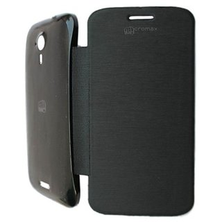 Platina Flip Cover For Micromax Canvas Hd A116 Black available at ShopClues for Rs.199