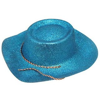 Glitter Cowboy Party Hat - Blue