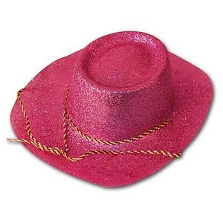 Glitter Cowboy Party Hat - Pink