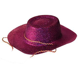 Glitter Cowboy Party Hat - Purple
