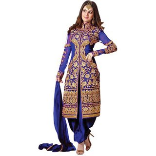 Cozer Georgette Embroidered Semi-stitched Salwar Suit Dupatta Material