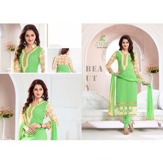 Party Wear Embroidered Dress Material -Green
