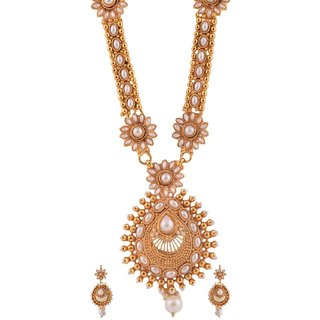 1 gram gold plated temple design South Indian Necklace Set Jewelry 5058