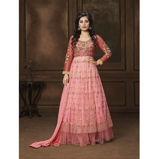 Thankar Pink And Peach Embroidered Net Anarkali Suit