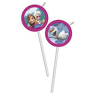Frozen-Medallion Flexi Drinking Straws
