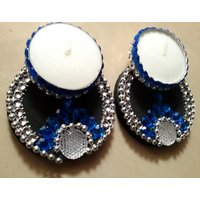 Decorated Floating T-Light Diya/Candle