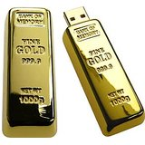 Gold Bar Shaped 8GB USB Flash Drive Memory Stick Pen Drive