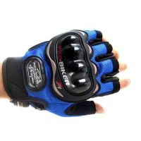 Pro-Biker Motorcycle Riding Blue Gloves Half Finger Size XL.