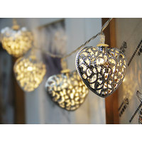 10-LED 47inch Battery Operated Christmas Wedding Filigree Metal Heart Shape String Lamp Fairy Lights - Warm white