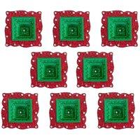 Diya - Unique Arts Colourful Hawan Shaped Decorative Diyas - Set Of 8