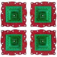 Diya - Unique Arts Colourful Hawan Shaped Decorative Diyas - Set Of 4