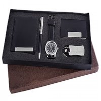 Ferry Rozer Black Combo Gift Set Of Watch, Wallet, Card Holder, Key Chain  Pen