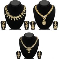Sukkhi GoldenSilver Gold Plated 3 Pieces Necklace Set For Women