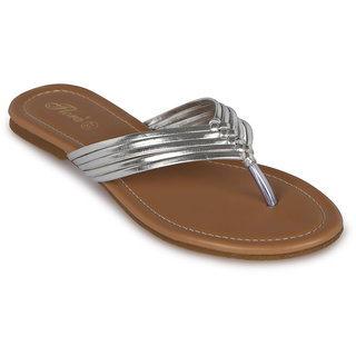 Flora Casual Wear Silver Flat Slippers