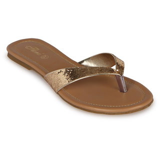 Flora Casual Wear Gold Flat Slipper
