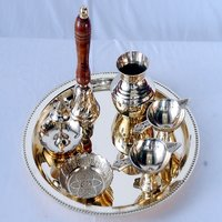 Antique/Traditional Brass Pooja Thali/Diwali Thali (Glossy-Finish)