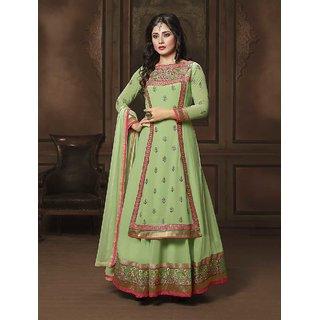 Thankar Green Embroidered Georgette Anarkali Suit