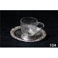 Muhenera 6 Pcs. Cup And Saucer In Glass And Silver Coated Metal