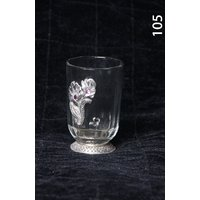 Muhenera 6 Pcs Glass Set With Silver Coated Metal Design On The Body