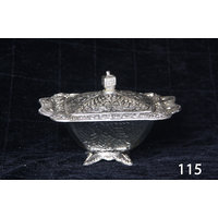 Muhenera Square Bowl With Silver Coated Lid And Base