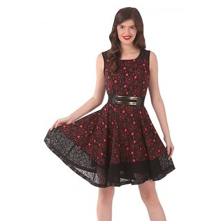 Zeroed Womens Red and Black Lace A-line Dress