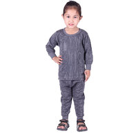 Kids Unisex Body Warmer Thermal Winter Wear (Top + Bottom) Color Grey (Pack of 1