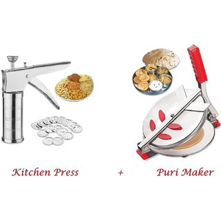Combo Of Puri Maker / Press Stainless Steel Kitchen Press With 15 Different Jalis