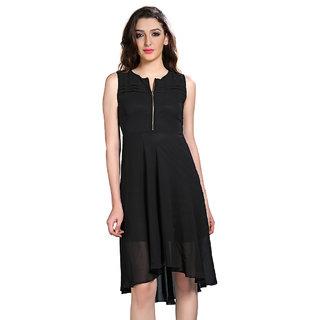 Brii Womens Breezy Black Polyster Solid Dress