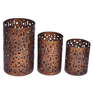 AnasaDecor Set of 3 Copper Hurricane Candle Holder