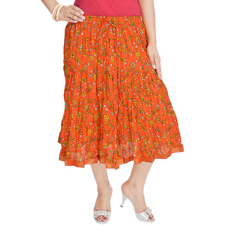 Rajasthani Ethnic Orange Cotton Short Skirt