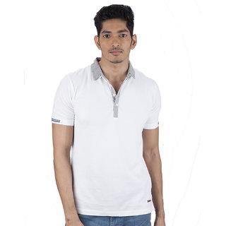 Mavango Dude Look White Polo Neck Regular Fit Men's Cotton T Shirt