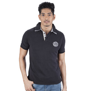 Mavango Go Getter Solid Black Polo Neck Regular Fit Men's Cotton T Shirt