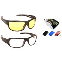 Fashno Combo of Transparent Yellow  White Biker Sunglasses And Aluma Wallet For Travel