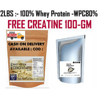 2Lbs-Whey Protein Concentrate  WPC80%:-Unflavored-FREE CREATINE 100GM WORTH 300