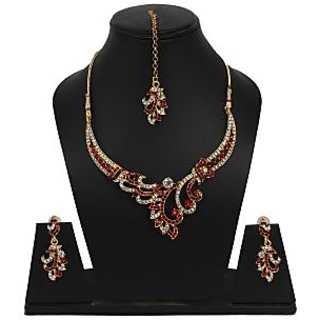 Shopping Villa Traditional rich n red necklace with maang tika and earings