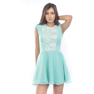 Mint With Lacy Fabric Dress