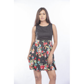 Black Floral Box Pleated Dress