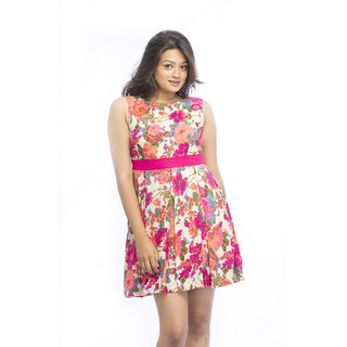 Multicolor Floral With Bow Dress