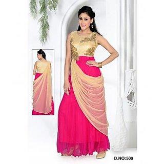Kala Creation Gown Pink Colour Net Work Unique Design