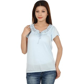 Kotty Casual Butterfly Sleeve Solid Womens Top