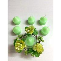 Fragranced Handmade Green Tea Pack- Tea Lights And Holder
