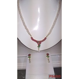 RICE PEARLS TRIPLE ROW with ruby multi locket set