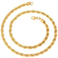 The Jewelbox Mens Stainless Steel Gold Plated Classic Rope Chain 21.5
