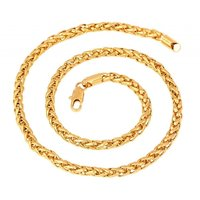 The Jewelbox Gold Plated Wheat Spiga Franco Stainless Steel Chain 21.5