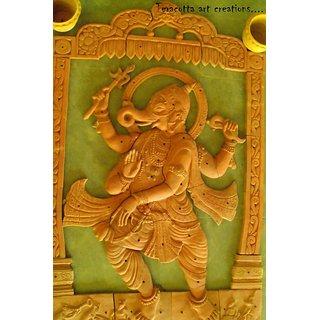Dancing Ganesha - Terracotta mural art (size-6 feet into 4 feet)