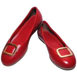 Richiee Red Imported Faux Leather Flat Ballerinas